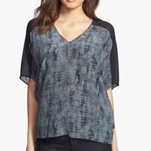 Eileen Fisher Silk gray black snake print top